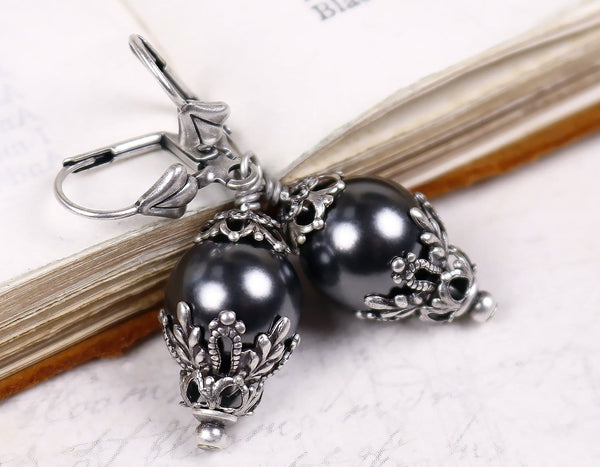 Borgia Drop Earrings in Black Pearl - Antiqued Silver - by dosha of Rabbitwood & Reason