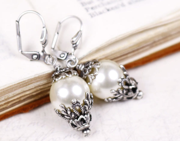Borgia Drop Earrings in Cream Pearl - Antiqued Silver - by dosha of Rabbitwood & Reason