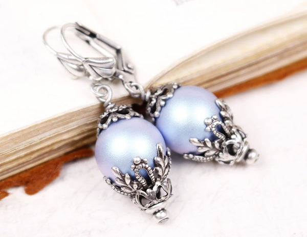 Borgia Drop Earrings in Iridescent Light Blue Pearl - Antiqued Silver - by dosha of Rabbitwood & Reason