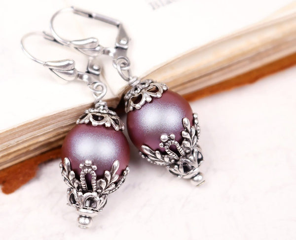 Borgia Drop Earrings in Iridescent Red Pearl - Antiqued Silver - by dosha of Rabbitwood & Reason