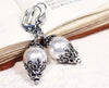 Borgia Drop Earrings in White Pearl - Antiqued Silver - by dosha of Rabbitwood & Reason