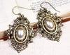 Chateau Earrings - Cream Pearl - Antiqued Brass - Rabbitwood & Reason
