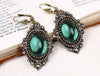 Countess Earrings in Emerald & Antiqued Brass by dosha of Rabbitwood & Reason