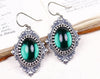 Countess Earrings in Emerald & Antiqued Silver by dosha of Rabbitwood & Reason