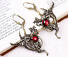 Dragon Earrings - Garnet - Antiqued Brass - Rabbitwood & Reason