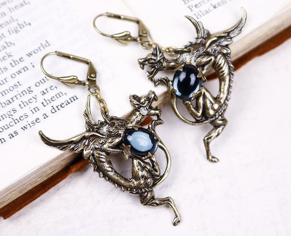 Dragon Earrings - Antiqued Brass