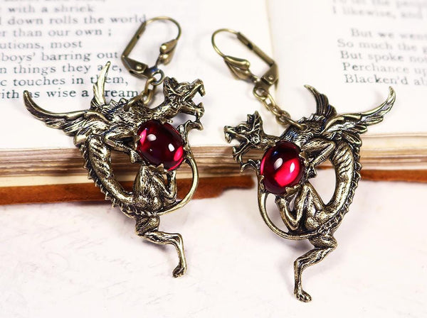 Dragon Earrings - Ruby - Antiqued Brass - Rabbitwood & Reason