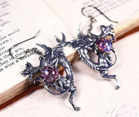 Dragon Earrings - Amethyst Art Glass - Antiqued Silver - Rabbitwood & Reason
