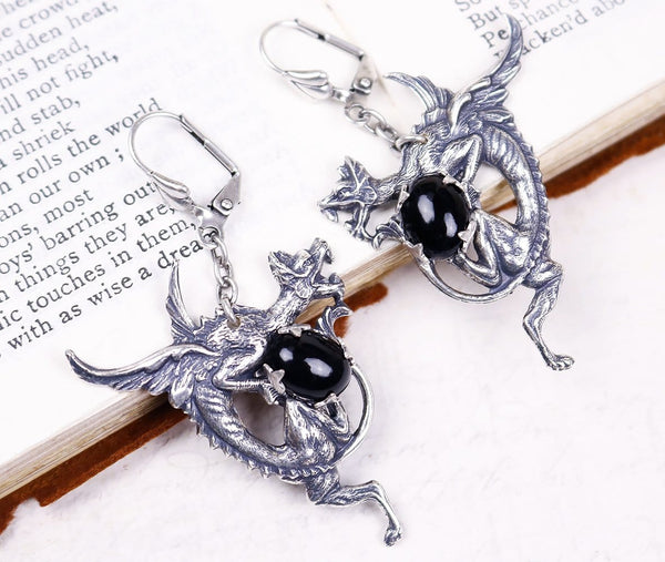 Dragon Earrings - Black - Antiqued Silver - Rabbitwood & Reason