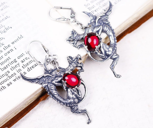 Dragon Earrings - Ruby - Antiqued Silver - Rabbitwood & Reason