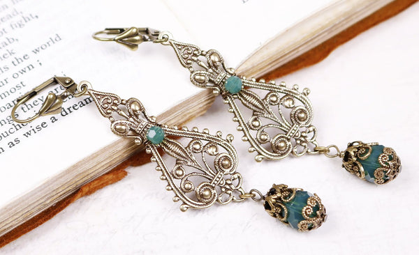 Fiora Earrings - Palace Green Opal - Antiqued Brass - Rabbitwood & Reason