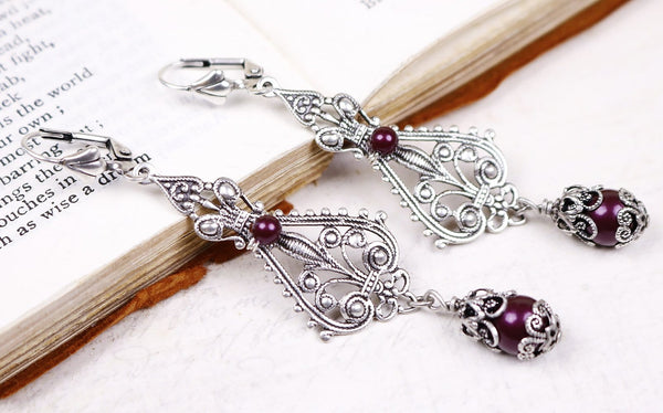 Fiora Earrings - Blackberry Pearl - Antiqued Silver - Rabbitwood & Reason