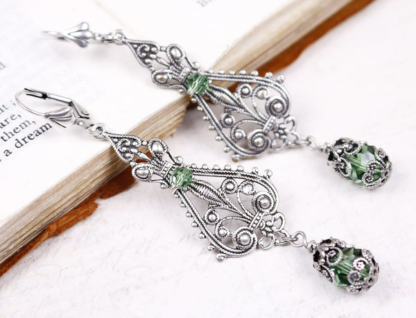 Fiora Earrings - Chrysolite - Antiqued Silver - Rabbitwood & Reason