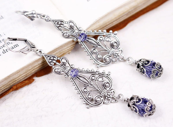 Fiora Earrings - Tanzanite - Antiqued Silver - Rabbitwood & Reason