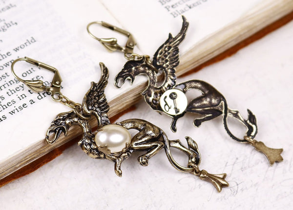 Gryphon Earrings - Cream Pearl - Back of Earring - Antiqued Brass - Rabbitwood & Reason