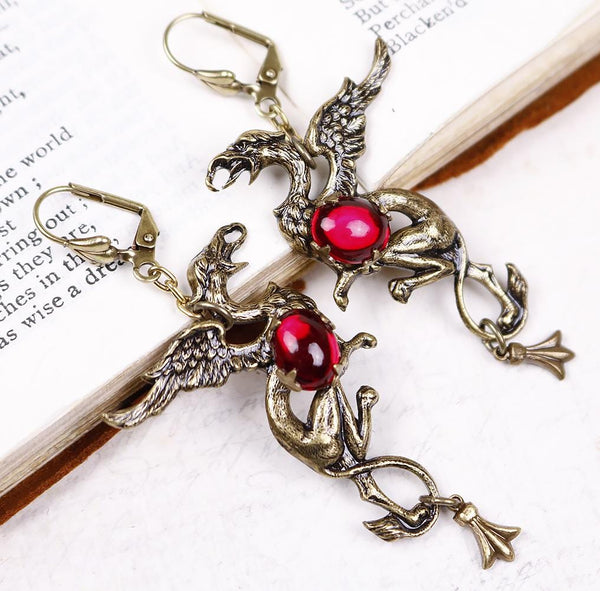 Gryphon Earrings - Ruby - Antiqued Brass - Rabbitwood & Reason