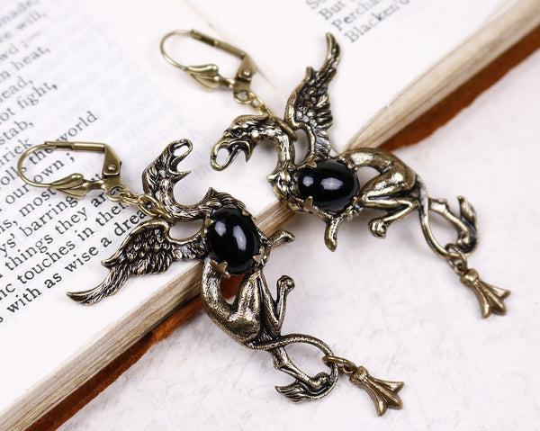 Gryphon Earrings - Black - Antiqued Brass - Rabbitwood & Reason