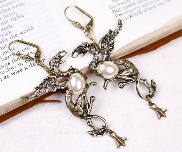 Gryphon Earrings - Cream Pearl - Antiqued Brass - Rabbitwood & Reason