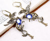 Gryphon Earrings - Sapphire - Antiqued Brass - Rabbitwood & Reason