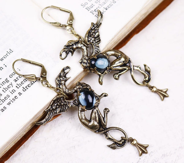 Gryphon Earrings - Twilight - Antiqued Brass - Rabbitwood & Reason
