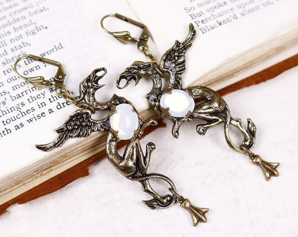 Gryphon Earrings - White Opal - Antiqued Brass - Rabbitwood & Reason