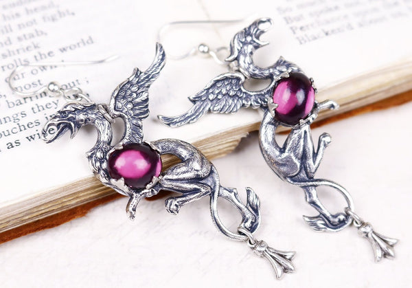 Gryphon Earrings - Amethyst - Antiqued Silver - Rabbitwood & Reason
