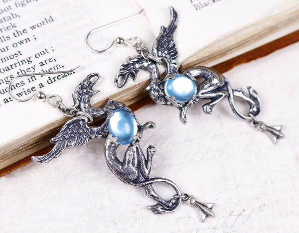 Gryphon Earrings - Aquamarine - Antiqued Silver - Rabbitwood & Reason