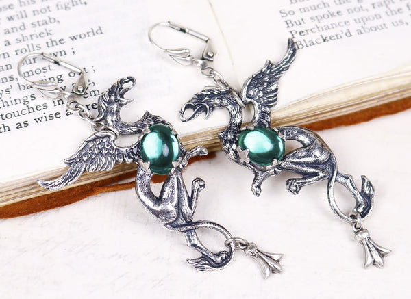 Gryphon Earrings - Emerald - Antiqued Silver - Rabbitwood & Reason