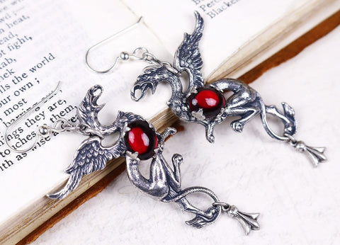 Gryphon Earrings - Garnet - Antiqued Silver - Rabbitwood & Reason