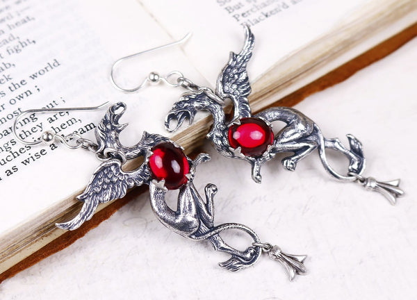 Gryphon Earrings - Ruby - Antiqued Silver - Rabbitwood & Reason