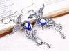 Gryphon Earrings - Sapphire - Antiqued Silver - Rabbitwood & Reason