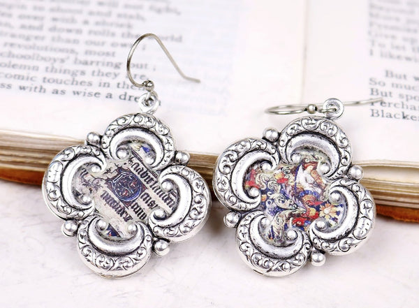 Illuminated Manuscript Earrings - Antiqued Silver - Rabbitwood & Reason