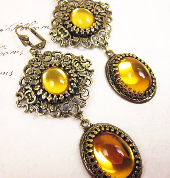 Lucia Earrings - Topaz - Antiqued Brass - Rabbitwood & Reason