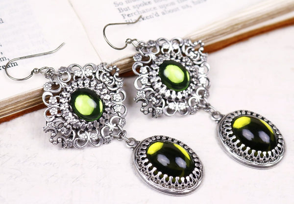 Lucia Earrings - Olivine - Antiqued Silver - Rabbitwood & Reason