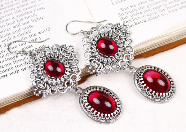 Lucia Earrings - Ruby - Antiqued Silver - Rabbitwood & Reason