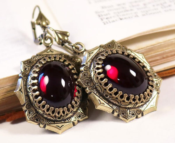Medieval Earrings Antiqued Brass - Garnet - Rabbitwood & Reason