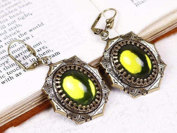 Medieval Earrings Antiqued Brass - Olivine - Rabbitwood & Reason
