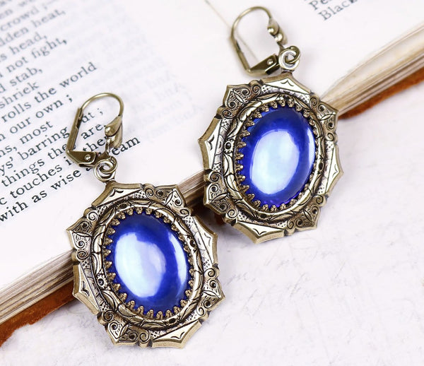 Medieval Earrings Antiqued Brass - Sapphire - Rabbitwood & Reason