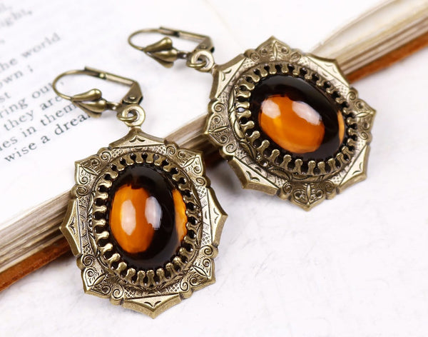 Medieval Earrings Antiqued Brass - Smoked Topaz - Rabbitwood & Reason