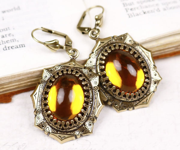 Medieval Earrings Antiqued Brass - Topaz - Rabbitwood & Reason