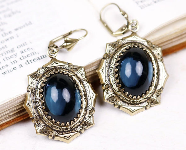 Medieval Earrings Antiqued Brass - Twilight Blue - Rabbitwood & Reason