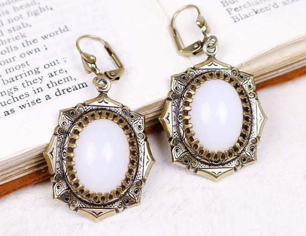 Medieval Earrings Antiqued Brass - White Opal - Rabbitwood & Reason