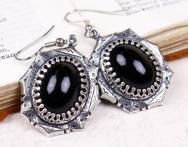 Medieval Earrings Antiqued Silver - Black - Rabbitwood & Reason