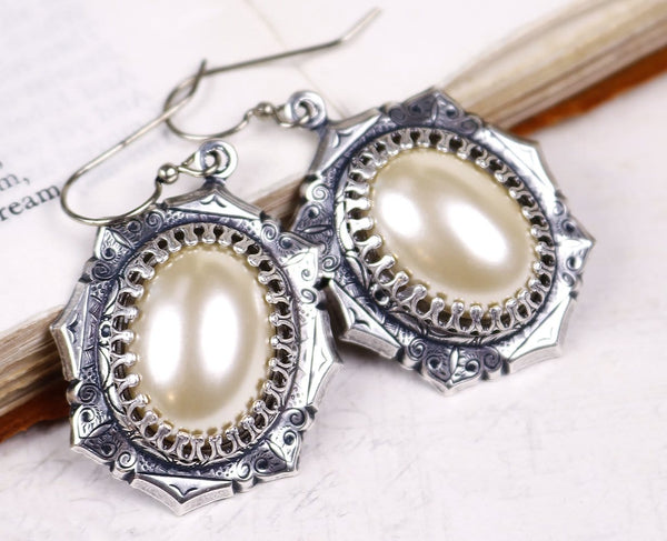 Medieval Earrings Antiqued Silver - Cream Pearl - Rabbitwood & Reason