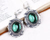 Medieval Earrings Antiqued Silver - Emerald - Rabbitwood & Reason