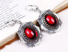 Medieval Earrings Antiqued Silver - Garnet - Rabbitwood & Reason