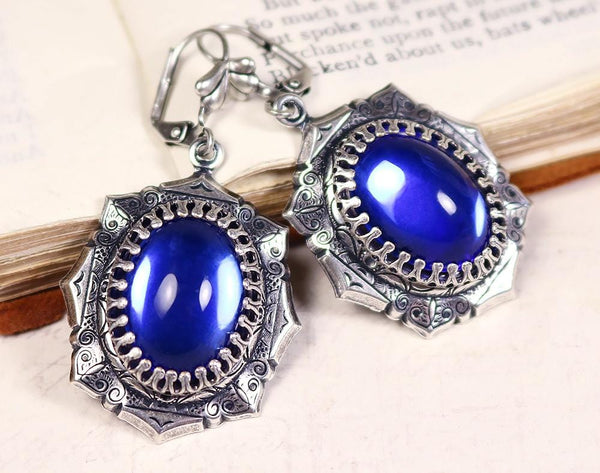 Medieval Earrings Antiqued Silver - Sapphire - Rabbitwood & Reason