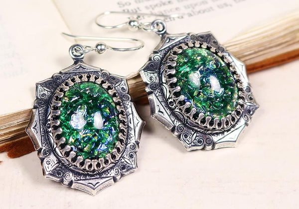 Medieval Earrings Antiqued Silver - Teal Art Glass - Rabbitwood & Reason