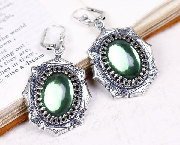 Medieval Earrings Antiqued Silver - Tourmaline Green - Rabbitwood & Reason
