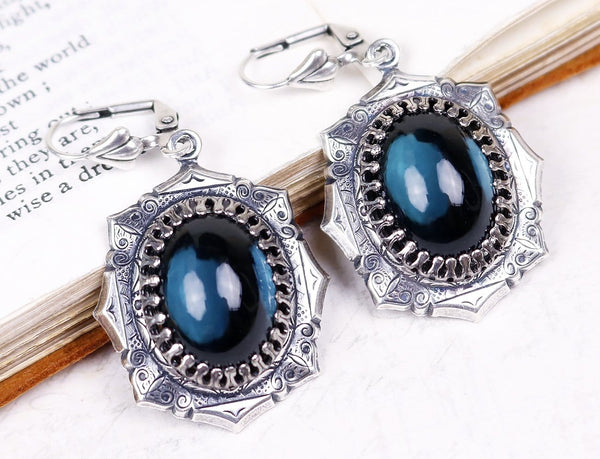 Medieval Earrings Antiqued Silver - Twilight Blue - Rabbitwood & Reason